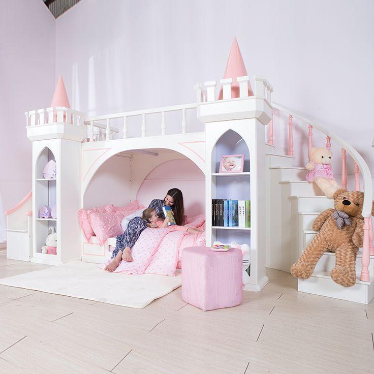 0125TB005 Europäischen-stil moderne mädchen schlafzimmer möbel prinzessin castle kinder bett mit rutsche lagerung schrank doppel bett