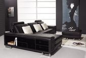 1 Sofa schwarzes Sofa schwarzes Ledersofa schwarzer Diwan   – Ledercouch reinige…