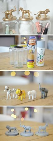 10 Brilliant DIY home Decor ideas, Check out the tutorial: #DIY Gold Animal Jars… – Home Decor Art
