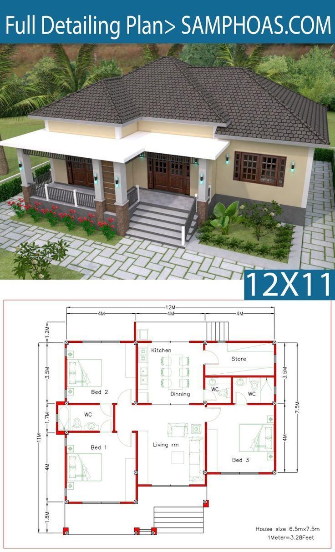 #12x11m #3Beds #Einrichtungsplan #Full #house design plans #mit