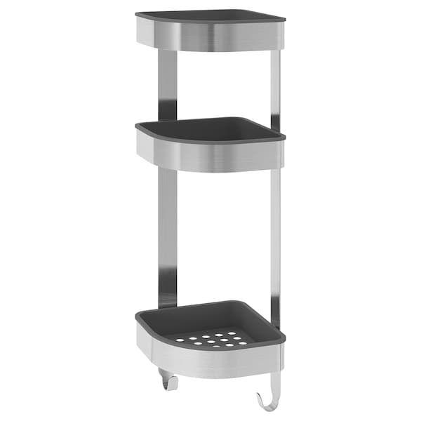BROGRUND Corner wall shelf unit – stainless steel – IKEA