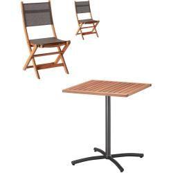 Gartenmöbel-Set Santiago/DaNang (61,9×61,9, Balkontisch, 2 Klappstühle) Dänisches BettenlagerDänisch