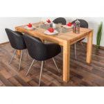 Wooden Nature Esstisch-Set 307 inkl. 4 Stühle (schwarz), Buche Massivholz - 160 x 90 (L x B) Steiner