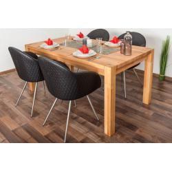 Wooden Nature Esstisch-Set 307 inkl. 4 Stühle (schwarz), Buche Massivholz – 160 x 90 (L x B) Steiner