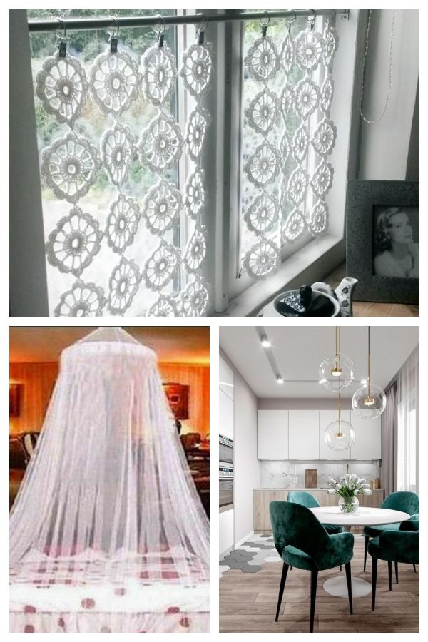 Spitzen häkeln Cafe Vorhang hängen Fenster Volant Net Panel #IdeenfrGardinen #…