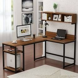Bourdeau L-Shape Computer Desk with Hutch