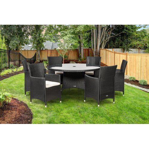 Sol 72 Outdoor Weist 6 Seater Dining Set with Cushions   Wayfair.co.uk