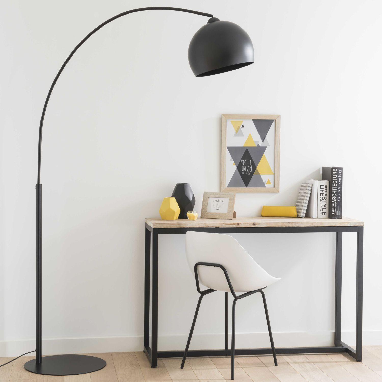 Stehlampe  aus Metall, H 190cm, schwarz | Maisons du Monde
