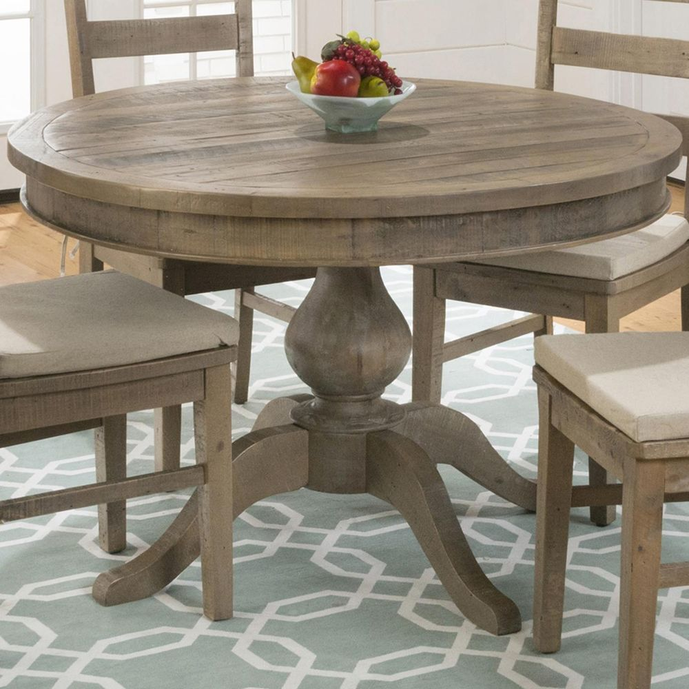Slater Mill Round Extension Dining Table – Brown