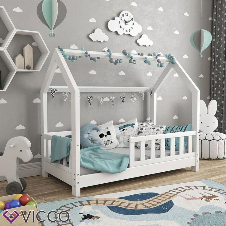 VitaliSpa Hausbett WIKI 70x140cm Zaun Weiß Kinderbett Kinderhaus Kinder Bett Holz – Baby Wear