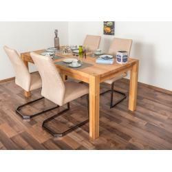 Wooden Nature Esstisch-Set 315 inkl. 4 Stühle (beige), Buche Massivholz – 160 x 90 (L x B) Steinerst