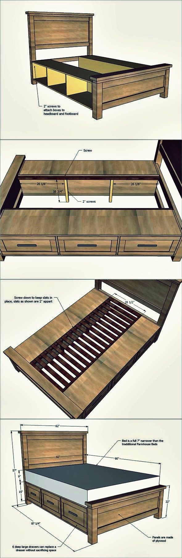 Kreative Ideen – wie man ein Bauernhaus-Speicherbett mit Fächern errichtet