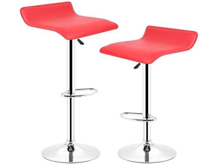 2 Barhocker höhenverstellbar mit Fußstütze und Rückenlehne für Küche rot