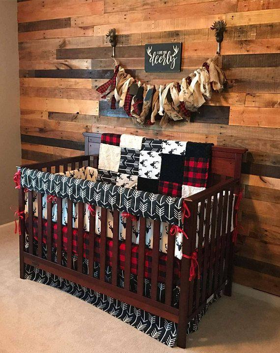 2 Day Ship – Boy Crib Bedding – Buck Deer, Black Arrows, Lodge Red Black Buffalo Check, and Black, Woodland Baby Bedding
