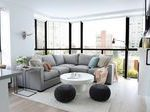 30 kleines modernes Wohnzimmer graues Schnittsofa runder Hauch quadratisches Ende Kaffeetisch...