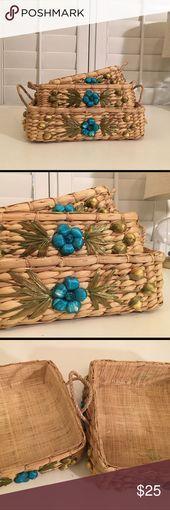 3er Set Weidenkörbe mit floraler Verzierung 3er Set Weidenkörbe mit #designing…