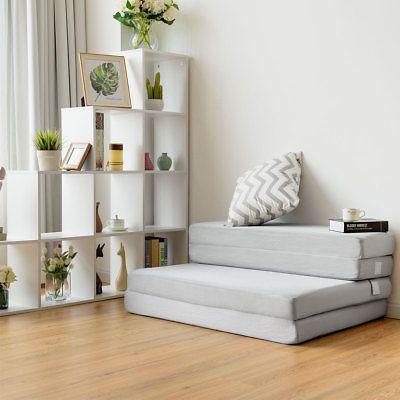4″ Queen Size Foam Folding Mattress Sofa Bed Guests Floor Mat Carrying Handles 696552419218 | eBay