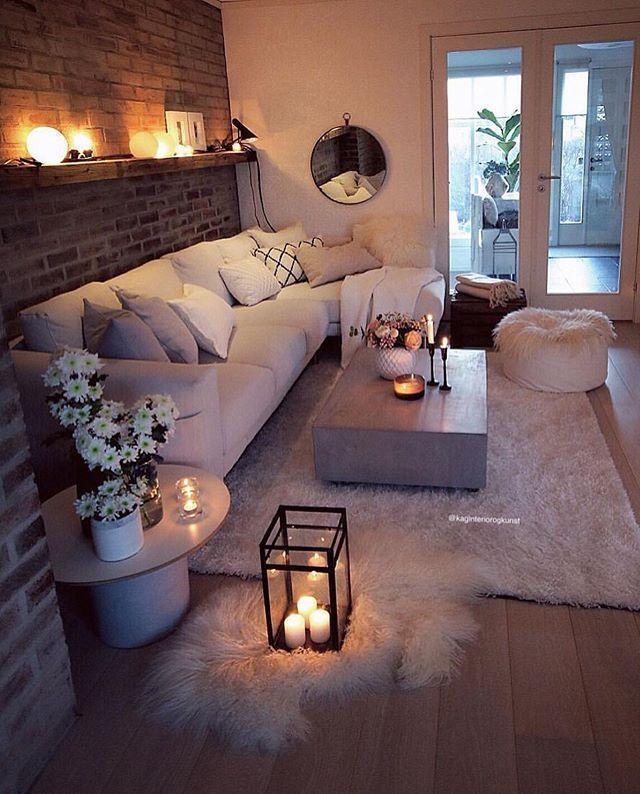 42 sehr gemütliche und praktische Deko-Ideen für kleines Wohnzimmer – bingefashion.com/dekor
