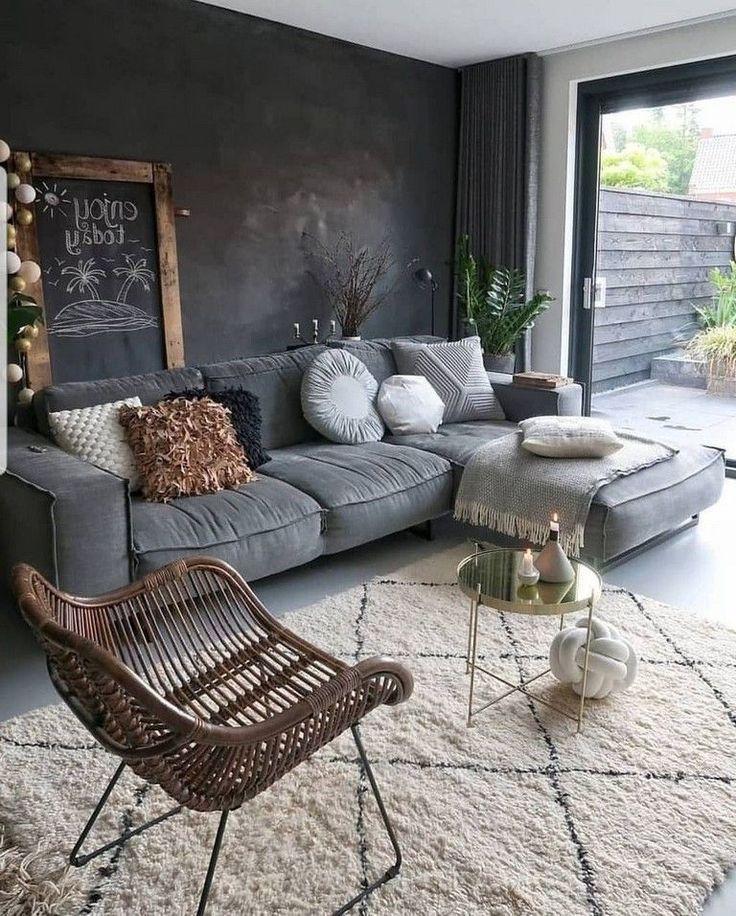 44+ idées de salon avec des murs noirs – Décoration