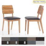 4x Holzstuhl Norea 3 Polsterstuhl Varianten Esszimmerstuhl Küchenstuhl