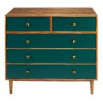 5-drawer chest of drawers in green solid acacia | Maisons du Monde