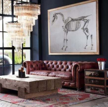 53  Ideas for living room couch leather chesterfield