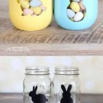 A cute DIY project for your Easter decorations. Stenciled mason jars filled with...