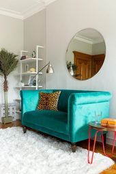 A teal settee invites a pop of fun youthful color into this room along with a l#…