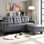 Acme Furniture Earsom Gray Reversible Ottoman Sectional Sofa