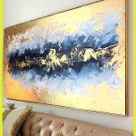 Acrylgemälde Große Abstrakte Malerei Ursprüngliche Oversize Malerei Blaue Malerei Gold Malere...