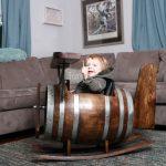Airplane Wooden Oak Barrel Kids Rocker