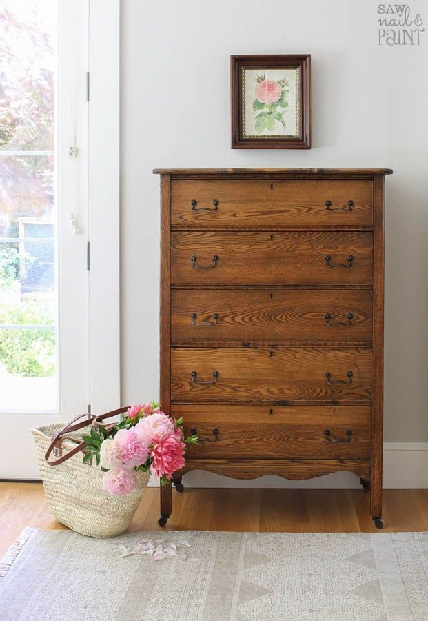 """Antique Oak Chest of Drawers """"As Found"""" – Saw Nail and Paint"""