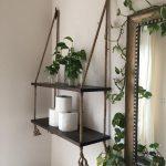Articles similaires à Bois et corde suspendu étagères en Expresso tache - salle de bains étagères - petite salle de bain rangement - entrée façon étagères-séjour chambre étagères sur Etsy