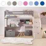 Asoral Hochbett LOFT XL LISO mit Treppe, Schreibtisch, 4 Stauraum Schubladen, H...