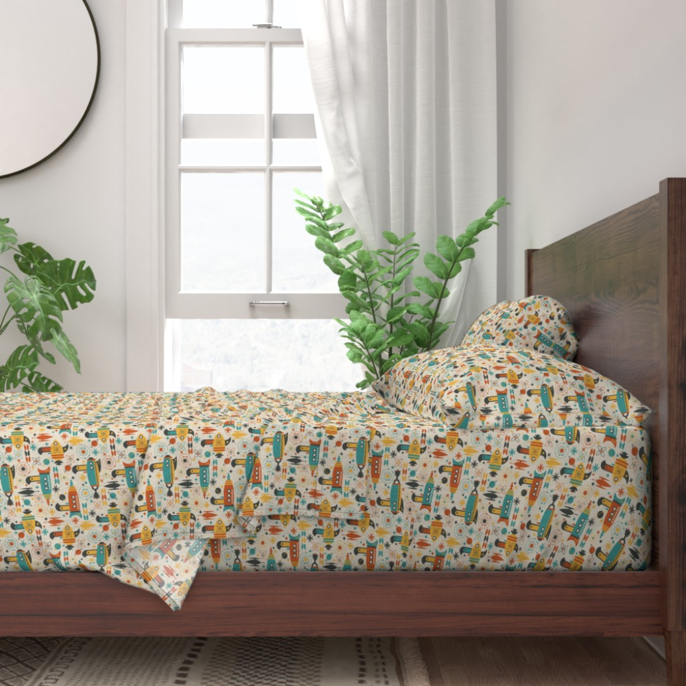 Atomic Retro Mid Century Modern Planet 100% Cotton Sateen Sheet Set by Roostery – Walmart.com