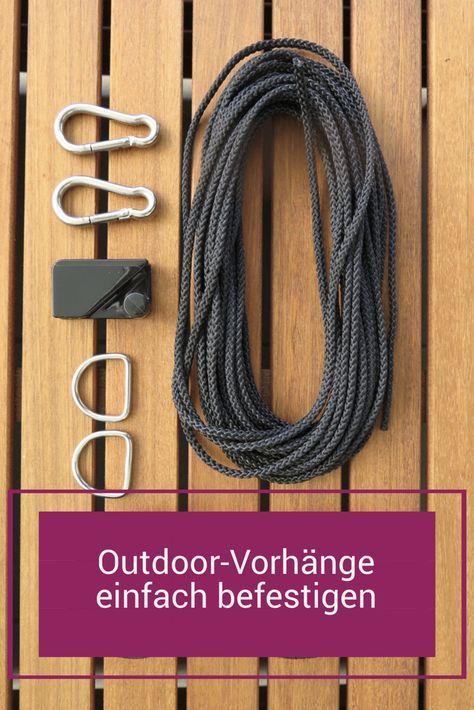 Aufhängesystem für Outdoor-Vorhänge [Stahl-Ersatz-Seil + Klett] #balkonsichts…
