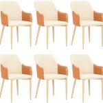 BISHOP Esszimmerstühle 6 Stk. Stoff 55x56x86 cm Braun und Cremeweiß