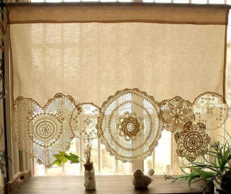 BOHO Vintage häkeln Doilies Shabby Chic Französisch Land Fenster Cafe Vorhang Vintage Spitze Creme
