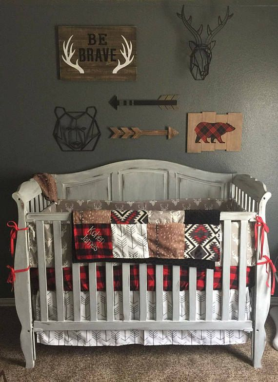 Baby Boy Crib Bedding- Gray Buck, Deer Skin Minky, White Gray Arrow, Aztec, Red Black Buffalo Check, and Black, Woodland Crib Bedding
