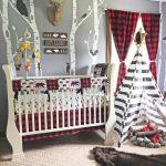 Baby Boy Crib Bedding Set, Lumberjack Baby Bedding,  Mountain Nursery, Woodlands Baby Bear Blanket, Red Buffalo Plaid Skirt,  Arrows, Bears