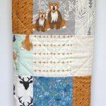Baby Decken für Jungen, modernen Wald Kinderbett Bettwäsche, Hallo Bär, Reh, Fuchs-Baby-Decke, Kunstgalerie Stoff, grau, Mint, Marine, Pfeile