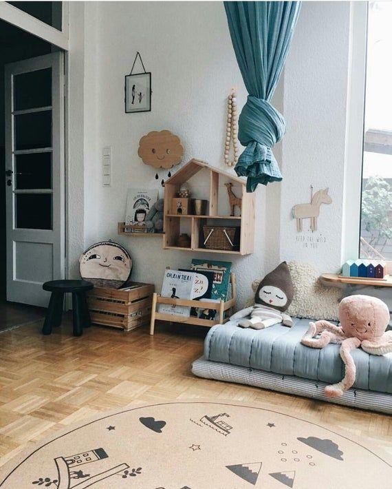 Baby boy nursery, Round area rugs, kids decor, baby shower, kids room, minimalist design, hygge, scandinavian style, cork, 130 cm, 4'26 Feet