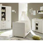 Babyzimmer komplett Set Landi weiss Pinie 3-teilig Baby Möbel mit Klei