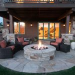 Back Patio with firepit in Tuhaye.  Home built by Cameo Homes Inc.  Park City Sh...