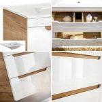 Badezimmer Set Hochglanz weiß mit Wotaneiche Luton-56 mit 80cm Waschtisch & Led-spiegelschrank, B/H/