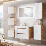Badezimmermöbel Set mit 80cm Waschtisch & Led-spiegel Luton-56 Hochglanz weiß mit Wotaneiche, B/H/T