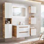 Badmöbel Komplett-Set mit 80cm Keramik-Waschtisch & Led-spiegel Luton-56 Hochglanz weiß mit Wotaneic