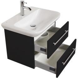 Badmöbel mit Geberit MyDay Waschbecken 65 cm schwarz seidenglanz EmotionEmotion