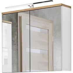 Badmöbelset mit 80cm Waschtisch & Led-spiegelschrank Uton-56 in Hochglanz weiß mit Wotaneiche, B/H/T
