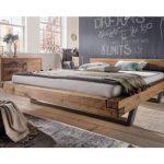 Balkenbett mit Stahlkufen Wildeiche - Wood Design